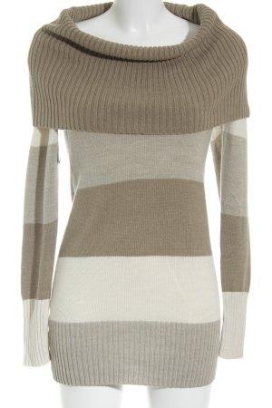 H&M Rollkragenpullover beige-creme Streifenmuster Casual-Look