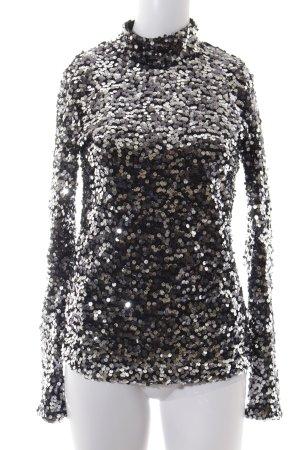 H&M Rollkragenshirt schwarz-silberfarben Glanz-Optik
