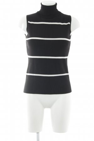 H&M Top de cuello de cisne negro-blanco estampado a rayas look casual