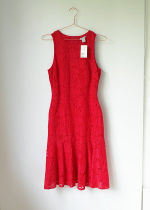 H&M rotes Spitzenkleid neu mit Etikett 38 Midikleid Knielang Cocktailkleid Lace aktuelle Kollektion