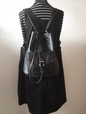 H&M Backpack black-silver-colored imitation leather