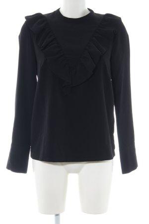 H&M Ruche blouse zwart casual uitstraling
