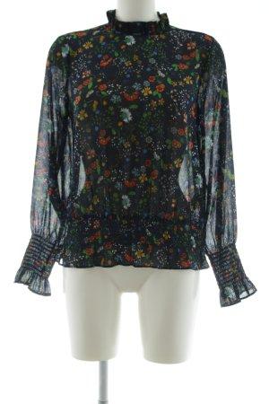 H&M Rüschen-Bluse Blumenmuster Transparenz-Optik
