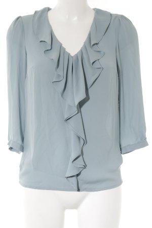 H&M Rüschen-Bluse blassblau Romantik-Look