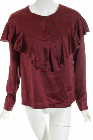 H&M Rüschen-Bluse bordeauxrot grafisches Muster Elegant