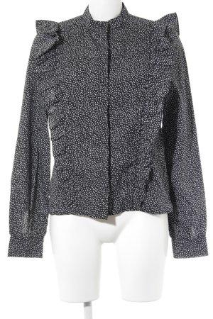 H&M Rüschen-Bluse schwarz-weiß Blumenmuster Retro-Look