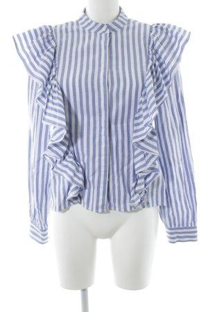 H&M Rüschen-Bluse weiß-blau Streifenmuster Casual-Look