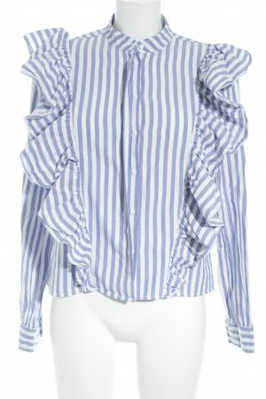 H&M Ruche blouse wit-blauw gestreept patroon casual uitstraling