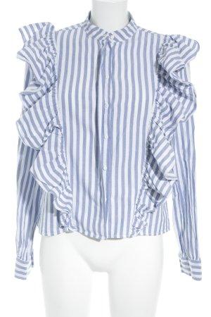 H&M Blusa con volantes blanco-azul estampado a rayas look casual