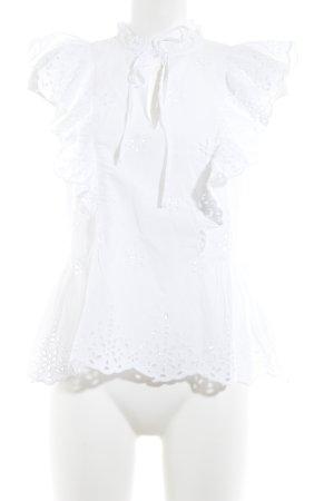 H&M Rüschen-Bluse weiß Blumenmuster Romantik-Look