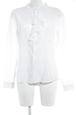 H&M Blouse à volants blanc style d'affaires