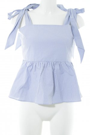H&M Ruffled Blouse white-azure striped pattern elegant