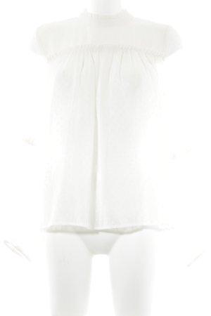 H&M Rüschen-Bluse wollweiß abstraktes Muster Elegant