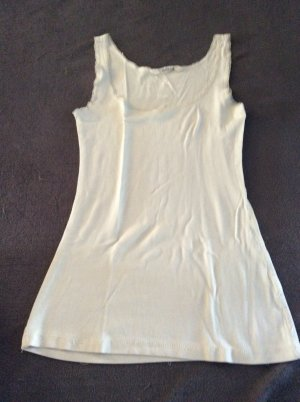 H&M Frill Top natural white cotton