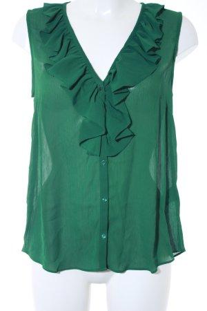 H&M Rüschentop waldgrün Romantik-Look