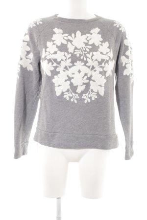 H&M Rundhalspullover grau-wollweiß florales Muster Casual-Look