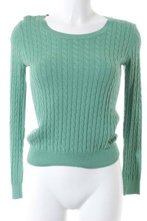 H&M Rundhalspullover grün Zopfmuster Casual-Look