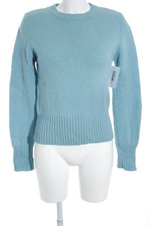 H&M Rundhalspullover hellblau Zopfmuster schlichter Stil