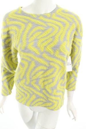 H&M Rundhalspullover hellgrau-gelb abstraktes Muster Street-Fashion-Look