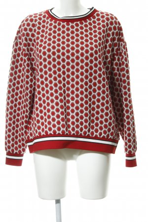 H&M Rundhalspullover rot-weiß Punktemuster Casual-Look