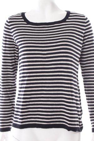 H&M Rundhalspullover schwarz-creme Streifenmuster