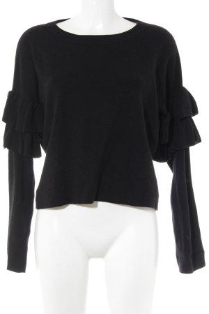H&M Rundhalspullover schwarz Elegant