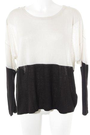H&M Rundhalspullover schwarz-weiß Colourblocking schlichter Stil