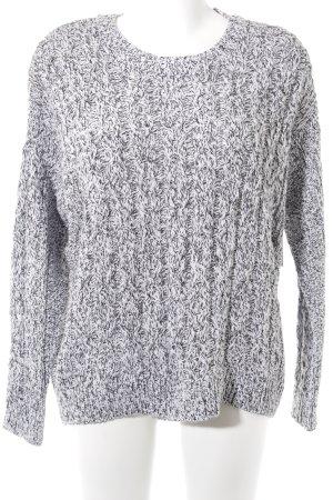 H&M Rundhalspullover schwarz-weiß Zopfmuster Street-Fashion-Look