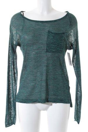 H&M Jersey de cuello redondo verde bosque moteado estilo College