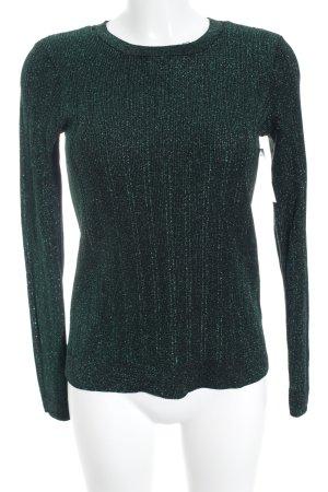 H&M Rundhalspullover waldgrün-schwarz meliert Glitzer-Optik