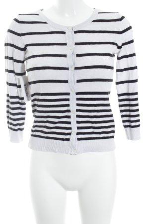 H&M Rundhalspullover weiß-schwarz Streifenmuster Marine-Look