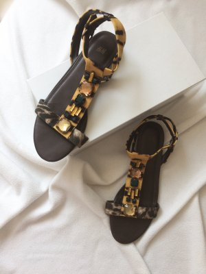 H&M Safari Style Sandalen Flats Mit Schmucksteinen Braun 41