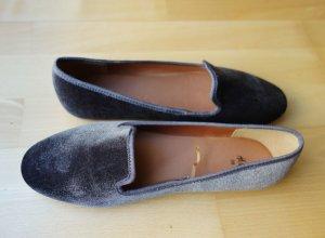 H&M Samt Velvet Slippers Ballerinas Loafers Mauve Violett Gr. 39 NEU