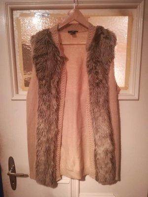 H&M Sand Strick Jacke mit Fake Fell Besatz