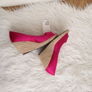 H&M Sandale 40 Wedges Keilabsatz Bast Pink Satin Schuhe Sommer Strand NEU