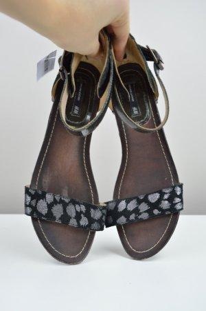 H&M Sandalen mit Muster und Riemchen schwarz Größe 40