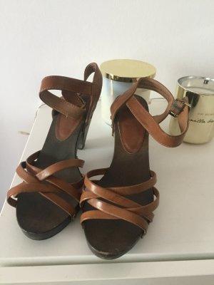 H&M Sandalen mit Riemchen braun Gr 40