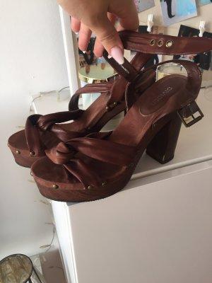 H&M Sandaletten Schuhe Gr 40 braun Holz  einmal getragen