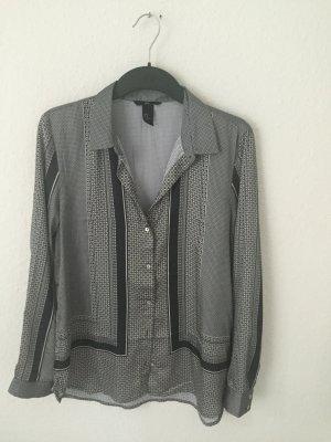 H&M Satin Bluse grau gemustert