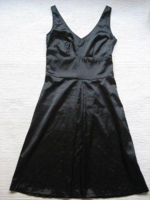 H&M satinkleid schwarz edel neu gr. xs 34 abendkleid coctailkleid
