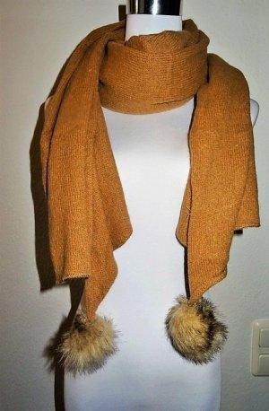 H&M Bufanda de lana marrón arena-naranja oscuro