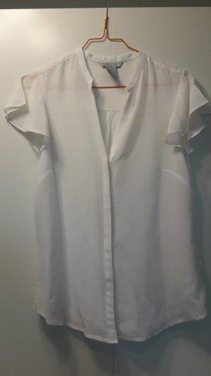 H&M schicke kurzarm Bluse aus Seide weiß Gr. 36