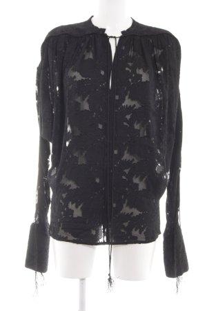 H&M Schlupf-Bluse schwarz Allover-Druck Casual-Look