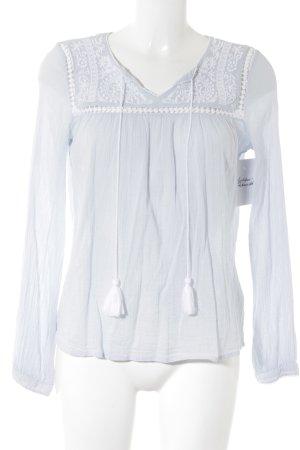 H&M Schlupf-Bluse himmelblau-weiß Romantik-Look