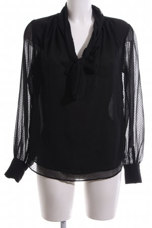 H&M Blusa con lazo negro estampado a lunares look casual