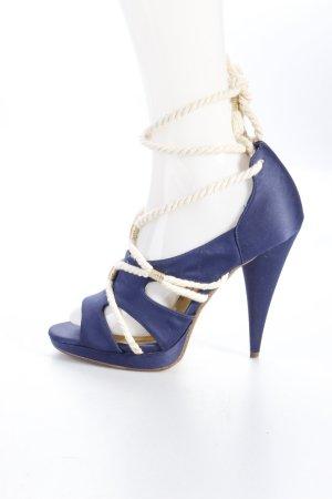 H&M Schnürpumps dunkelblau-beige