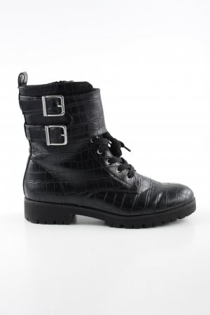 H&M Lace-up Boots black animal pattern business style