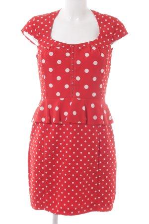 H&M Peplum jurk rood-wit gestippeld patroon Comic-look