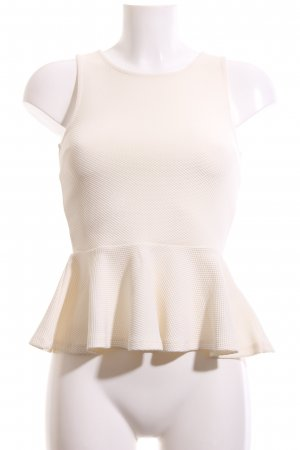 H&M Peplum Top natural white weave pattern business style