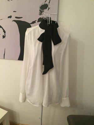 H&m Schulmädchen Bluse, schwarz weiß, 38, schleifen Kragen